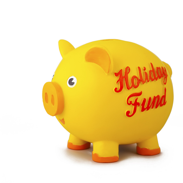 Yellow Piggy Bank Marked Holiday Fund