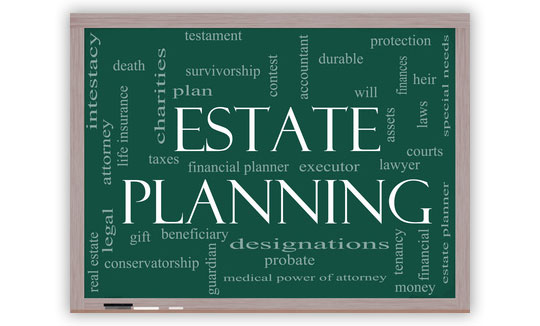 Chalkboard that says, Estate Planning